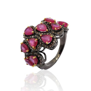 Ruby With Rose-Cut Diamond Ring In 925 Sterling Silver