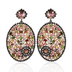 Tourmaline Gemstone Earring With Rose-Cut Diamond In 925 Sterling Silver