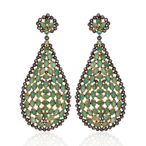 Emerald With Rose-Cut Diamond Earring In 925 Sterling Silver