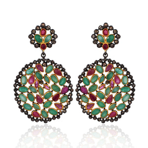 Ruby and Emerald Earring With Rose-Cut Diamond In 925 Sterling Silver