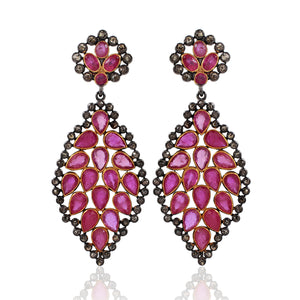 Ruby Earring With Rose-Cut Diamond In 925 Sterling Silver