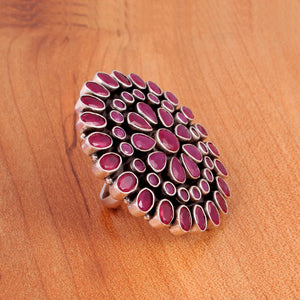 Ruby Ring in Oxidized 92.5 Sterling Silver (Tribal Collection)
