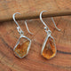 Handmade Uncut Amber Gemstone Earring in 925 Sterling Silver