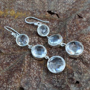 Handmade White Quartz Gemstone Earring in 925 Sterling Silver