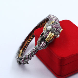 Ruby Dragon Designer Bracelet With Rose-Cut Diamond In 925 Sterling Silver