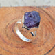 Handmade Rough Amethyst Gemstone Ring In 925 Sterling Silver