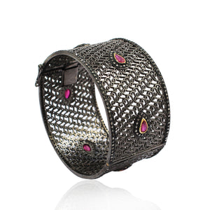 Ruby Bracelet With Rose-Cut Diamond In 925 Sterling Silver