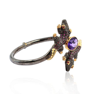 Lizard Shaped Amethyst Bracelet