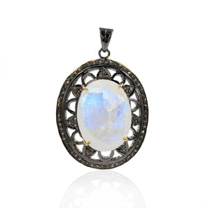 Moon Gemstone Pendant With Rose-Cut Diamond In 925 Sterling Silver
