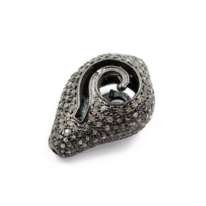 Shell Design Pave Ball With Rose-Cut Diamond In 925 Sterling Silver