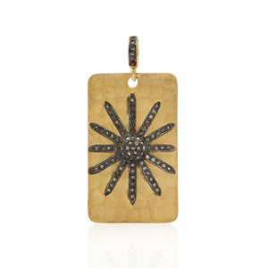 Gold Plated Pendant With Rose-Cut Diamond In 925 Sterling Silver