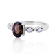 Smoky Quartz Ring With Cubic Zirconia in 925 Sterling Silver