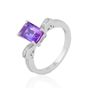 Amethyst Gemstone Ring With American Diamond in 925 Sterling Silver