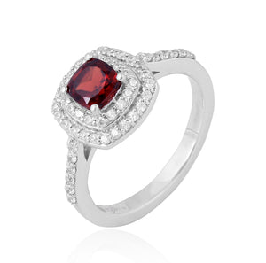 Garnet Gemstone Ring With Cubic Zirconia in 925 Sterling Silver