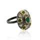 Precious Gemstone Ring With Rose-Cut Diamond And Polki In 925 Sterling Silver (Ruby, Emerald, Blue Sapphire)