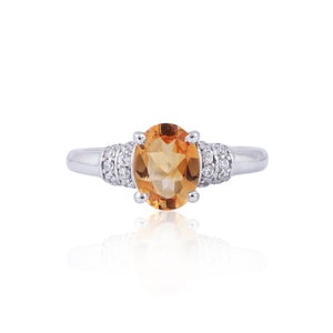 Citrine Gemstone Ring With Cubic Zirconia in 925 Sterling Silver