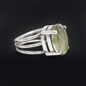 Handmade Mint Quotes Gemstone Ring In 925 Sterling Silver