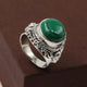 Handmade Malachite Gemtone Ring In 925 Sterling Silver