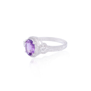 Amethyst Gemstone Ring in Rhodium Flashed 925 Sterling Silver