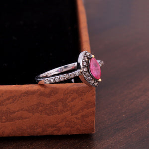 Ruby Gemstone Ring in Rose-Cut Diamond With 925 Sterling Silver