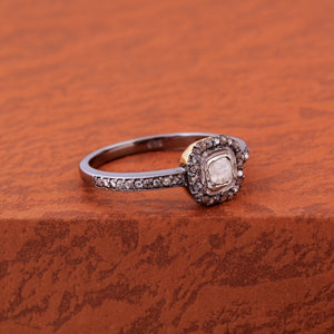 Polki Ring in Rose-Cut Diamond With 925 Sterling Silver