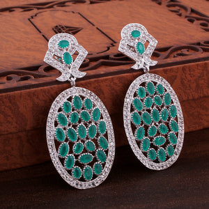 Precious Gemstone Earring With  Cubic Zirconia In 925 Sterling Silver