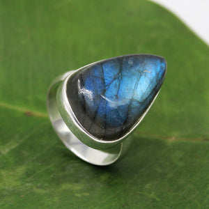 Handmade leborite Gemstone Ring in 925 Sterling Silver