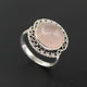 Handmade Rose quartz Gemstone Ring in 925 Sterling Silver