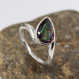 Handmade Misty quartz Gemstone Ring in 925 Sterling Silver