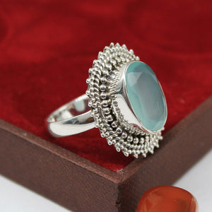 Handmade Calcedonia  Gemstone Ring in 925 Sterling Silver