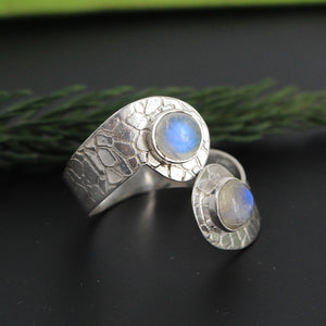 Handmade Moon Gemstone Ring in 925 Sterling Silver