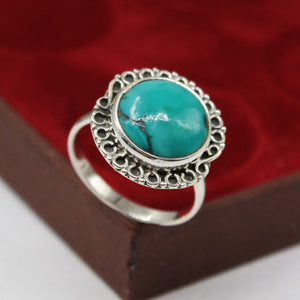 Handmade Turquoise Gemstone Ring in 925 Sterling Silver