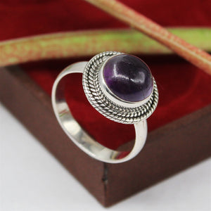 Handmade Amethyst Gemstone Ring in 925 Sterling Silver