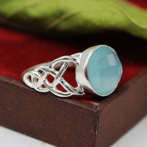 Handmade Blue Calcite  Gemstone Ring In 925 Sterling Silver