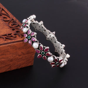 Bracelet With Ruby And Emerald In Oxidized 92.5 Sterling Silver