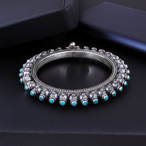 Bracelet With Tourquise In Oxidized 92.5 Sterling Silver