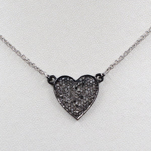 Heart Shape Charm With Rose-Cut Diamond In 925 Sterling Silver