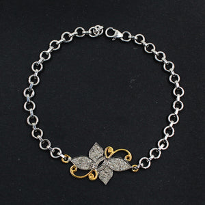 Flower Design Charm With Rose-Cut Diamond In 925 Sterling Silver