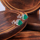 Green Onyx Gemstone Studs in 925 Sterling Silver