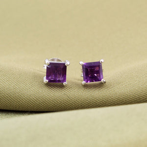 Amethyst Gemstone Studs in 925 Sterling Silver