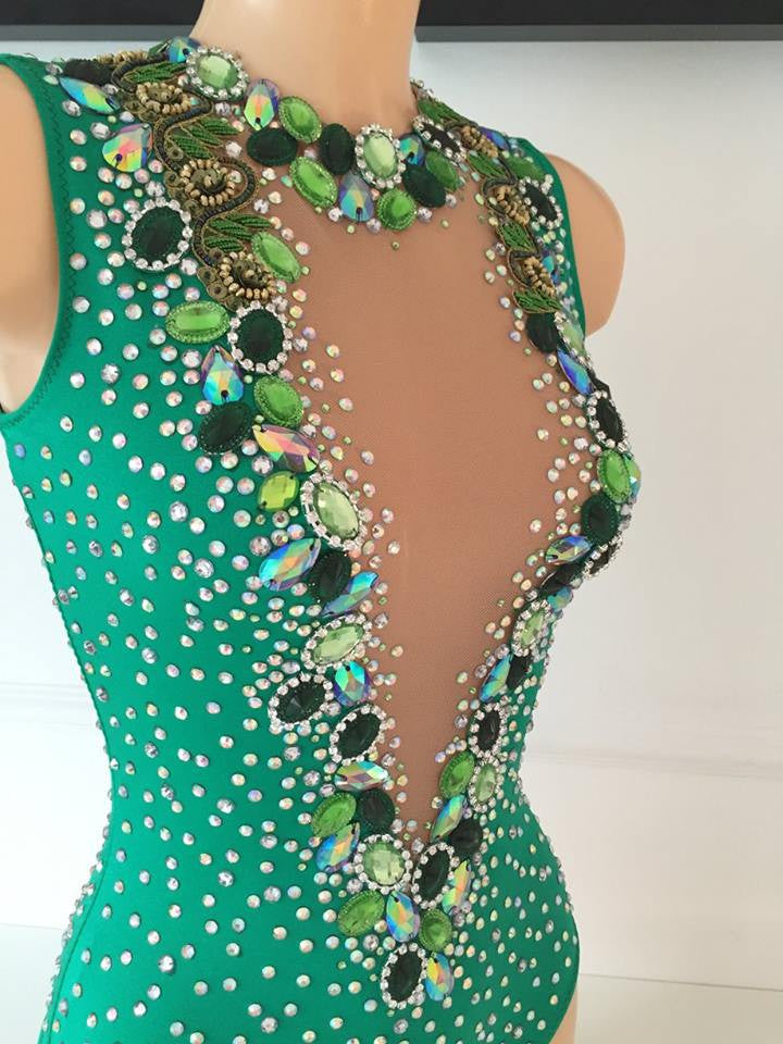 Mocidade Green Bodysuit Covered Up Samba Costume
