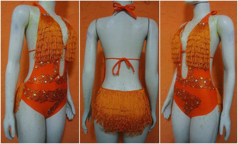Samba Show Bodysuit Fringes-Orange