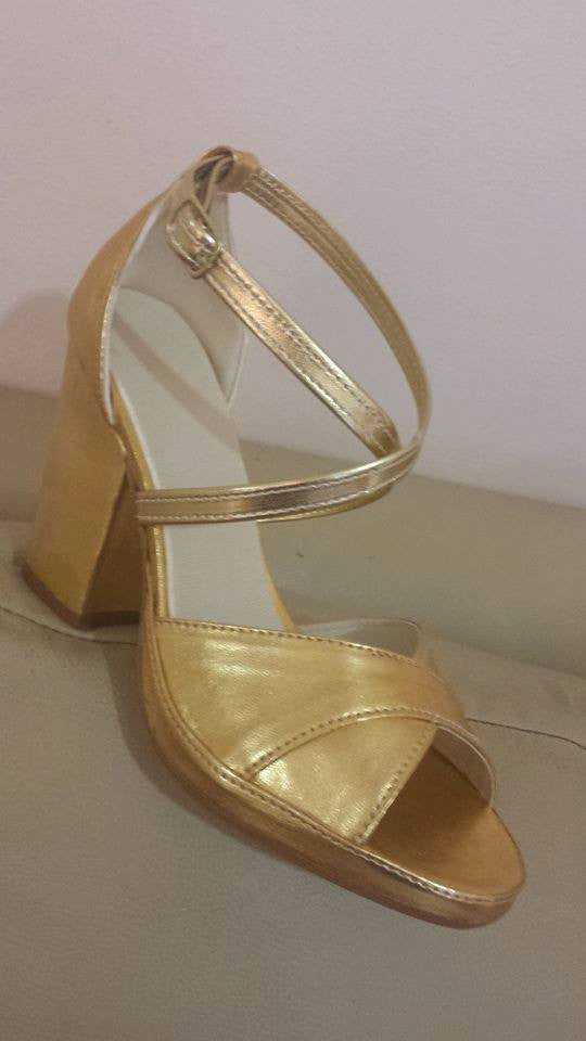 Classic Professional Samba Shoes, Over Crossed Straps, Open Toes - Size 35