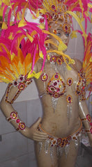 Hot Pink, Orange & Yellow Samba Complete 10 Piece Costume