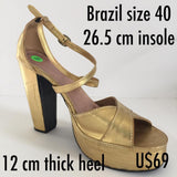 Classic Professional Samba Shoes, Over Crossed Straps, Open Toes - 40 - BrazilCarnivalShop
