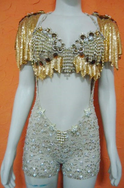 Golden One Piece Diva Mesh Lycra Lace Passista + Bonus Earrings !