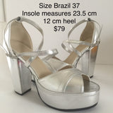 Classic Professional Samba Shoes, Over Crossed Straps, Open Toes -36/37