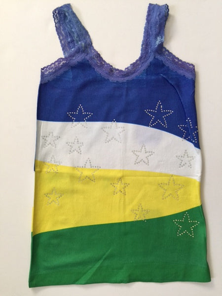 Brazil Stars Stripes & Beads Sleeveless T-Shirt Cami Style