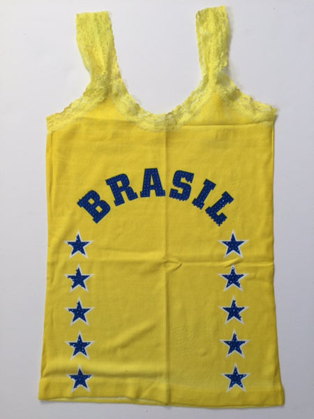 Brazil Word & Stars & Beads Sleeveless T-Shirt Cami Style