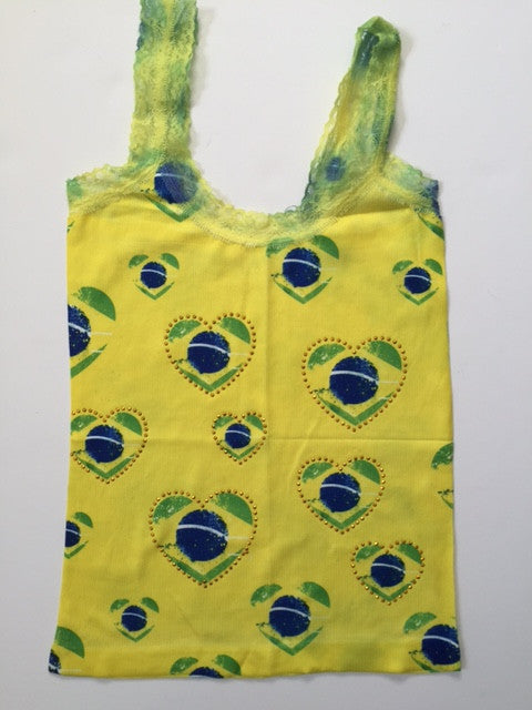 Brazil Small Hearts & Beads Sleeveless T-Shirt Cami Style - BrazilCarnivalShop